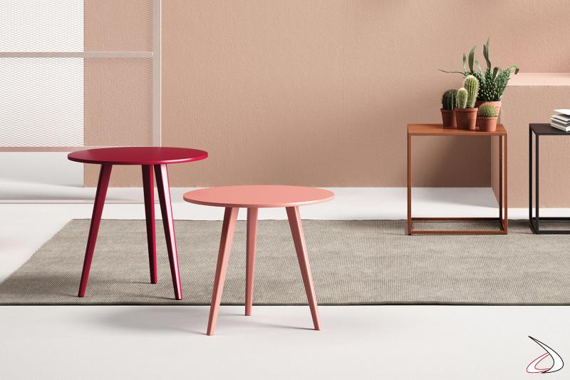 Tavolini alti rotondi moderni con tre gambe in laccato opaco