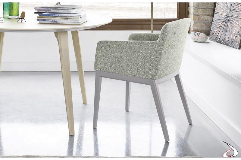 Sedia legno moderna con sedile imbottito