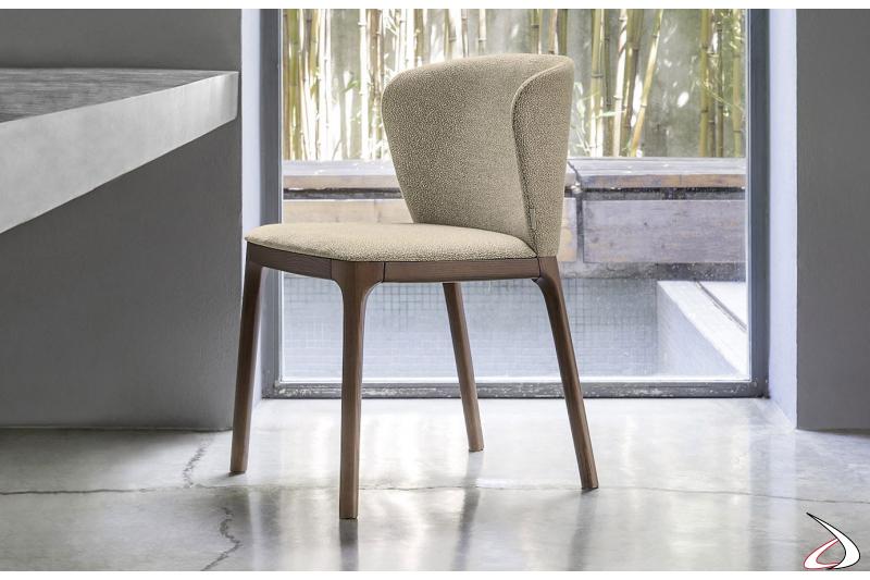 Sedia legno imbottita di design per tavolo soggiorno