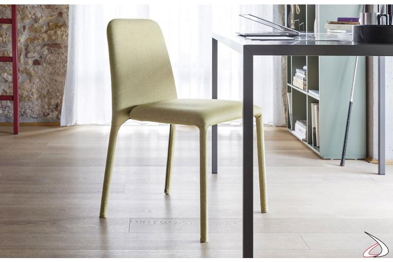Sedia moderna imbottita da soggiorno in tessuto