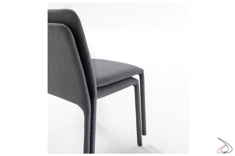 Sedia impilabile soggiorno in tessuto sfoderabile