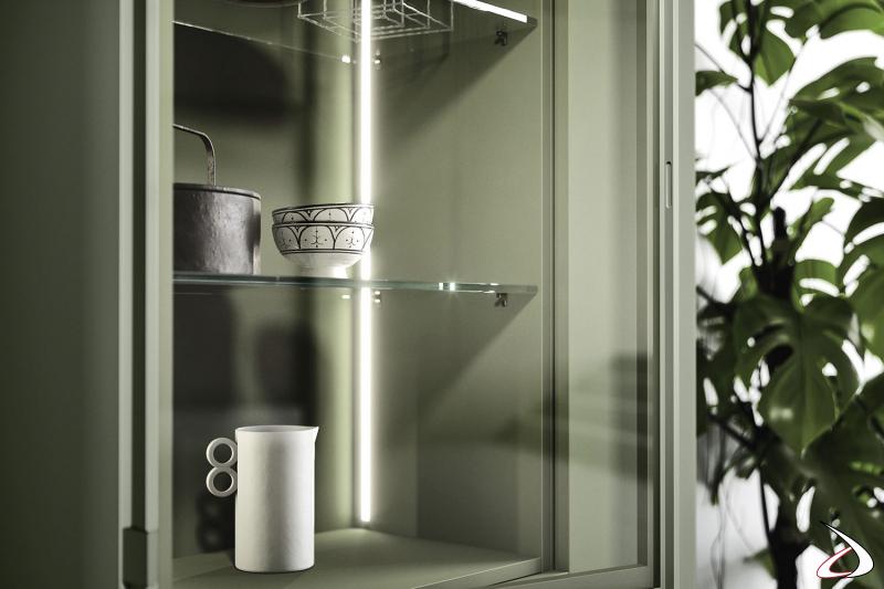 Credenza sospesa di design con vetrina con luce led interna