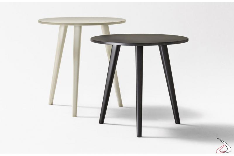Tavolino rotondo in legno a tre gambe da soggiorno