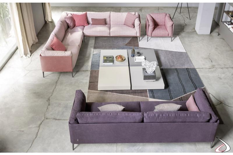 Tavolini bassi moderni quadrati in laccato opaco