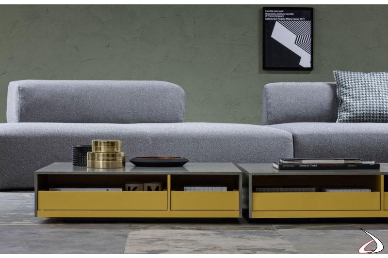 Tavolino basso moderno rettangolare bicolore