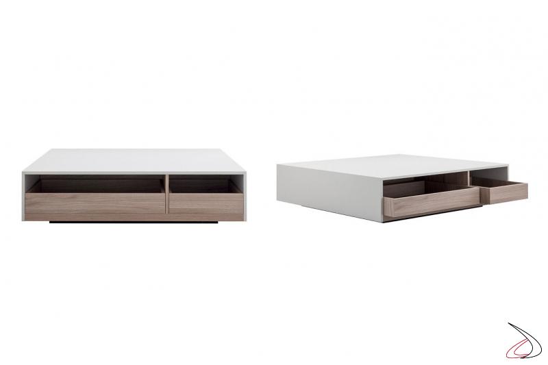 Tavolino basso moderno bicolore con cassetti estraibili