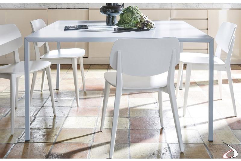Tavolo quadrato moderno bianco da cucina