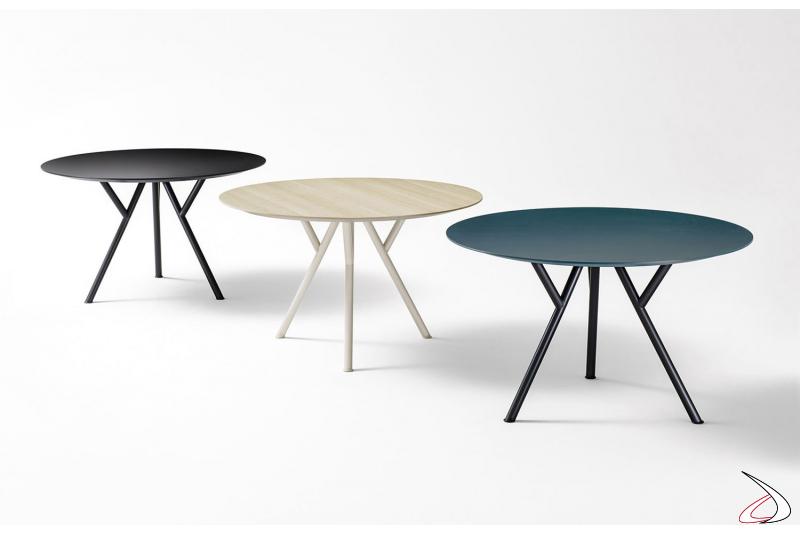 Tavoli rotondi da cucina di design in legno e ferro