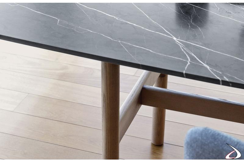 Tavolo moderno rettangolare fisso con piano in marmo