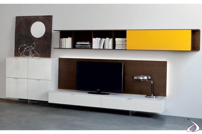 Mobile soggiorno moderno composto da basi, pannello porta tv, libreria e madia