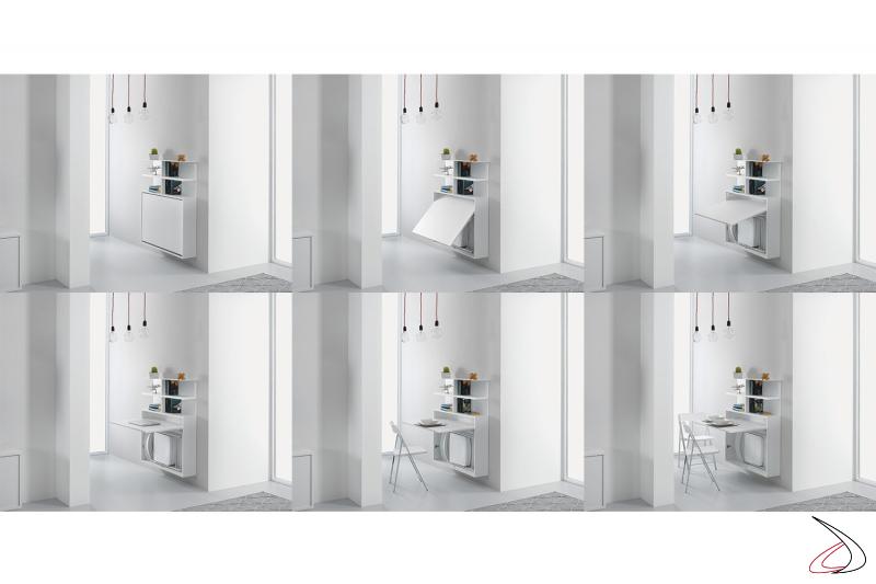 Consolle bianca sospesa a parete con contenitore porta sedie