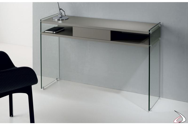 Consolle di design in vetro e legno con cassetto