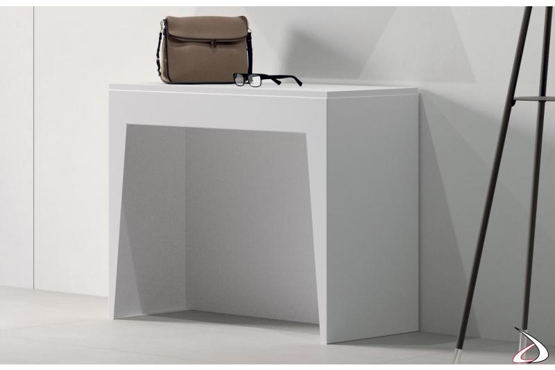 Consolle moderna in legno bianco da ingresso allungabile
