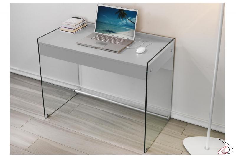 Consolle scrivania in vetro con cassetto colore grigio