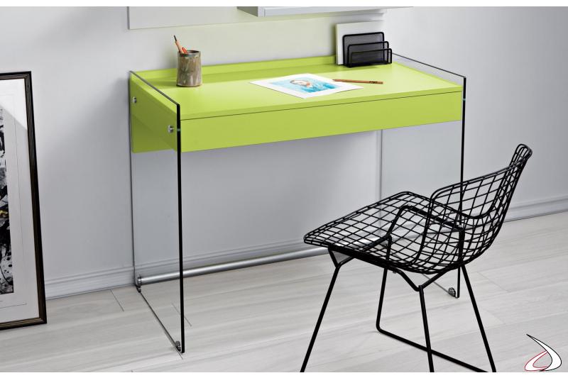 Consolle scrivania moderna in vetro con cassetto in legno