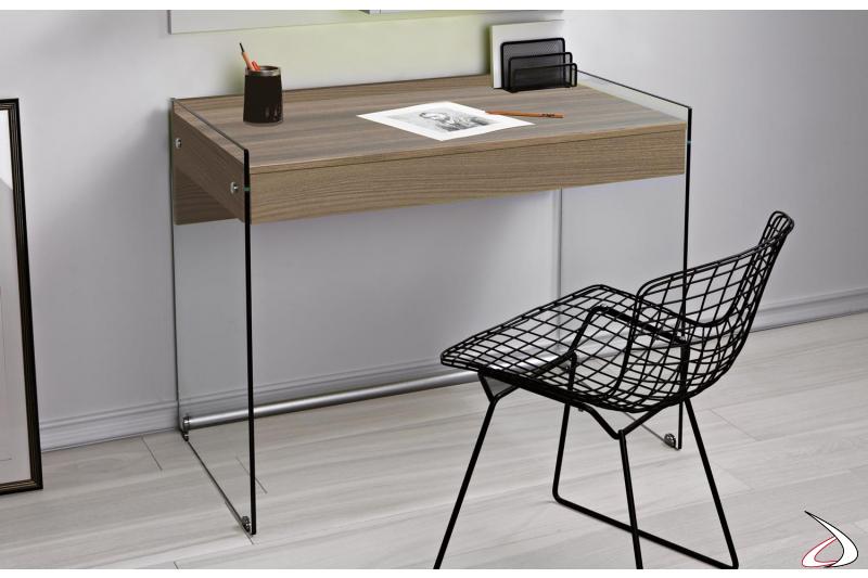 Consolle scrivania moderna con fianchi in vetro e cassetto in legno