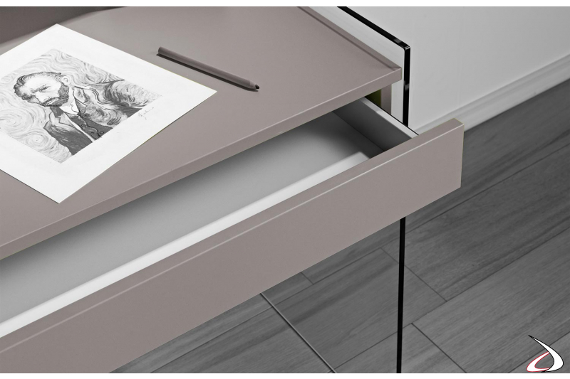 Cassetto scrivania consolle in legno con interno bianco