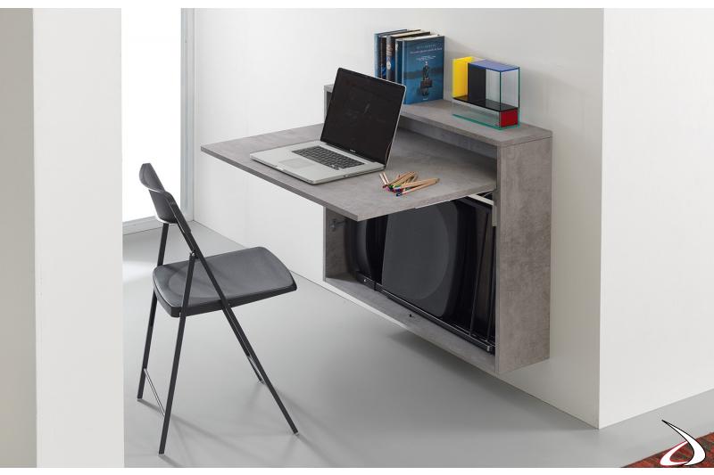 Consolle sospesa a muro trasformabile in scrittoio con sedie