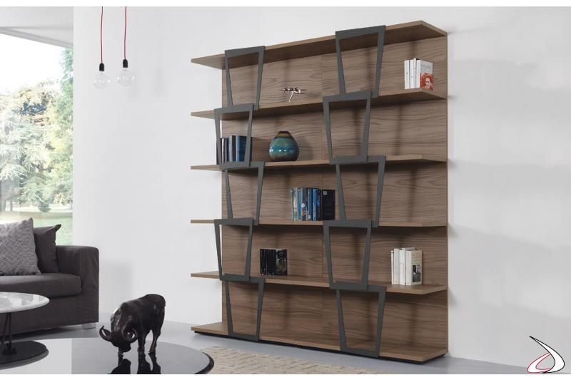 Libreria moderna a muro componibile in laminato noce e acciaio, misura 180 x 37 h 200 cm ( due elementi da 90 cm).