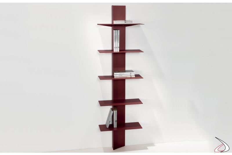 Colonna libreria moderna a parete in acciaio colorato