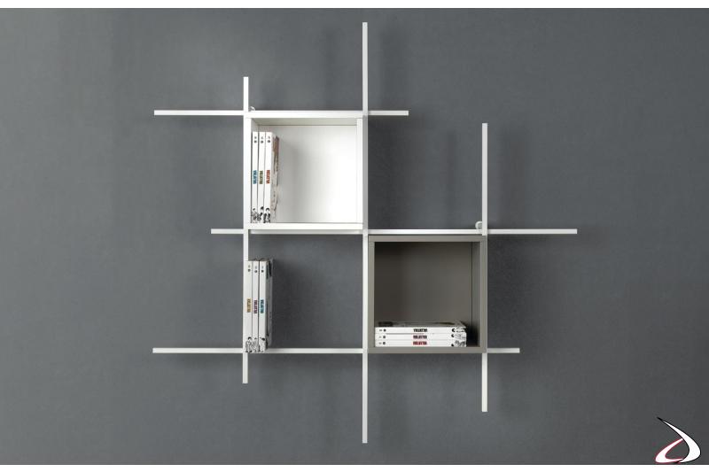 Libreria a cubi di design in tubolare d'acciaio con contenitori. Composizione 31, misura 130 x 130 x 15 cm.