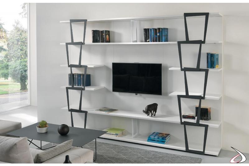 Libreria componibile da parete soggiorno bianca con elementi in metallo con vano porta TV. Misura 270 x 37 h 200 cm.