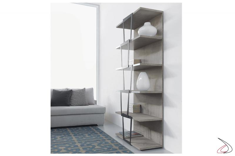 Libreria moderna alta componibile in laminato e in acciaio