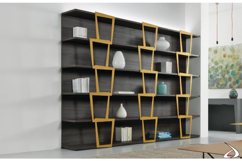 Libreria a moduli di design da soggiorno in laminato noce ardesia e oro. Misura 270 x 37 h 200 cm ( tre elementi da 90 cm).