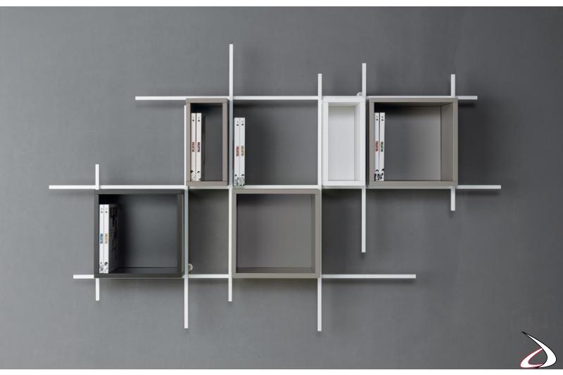 Libreria moderna da parete soggiorno con box contenitori. Composizione 35, misura 187 x 115 x 15 cm.