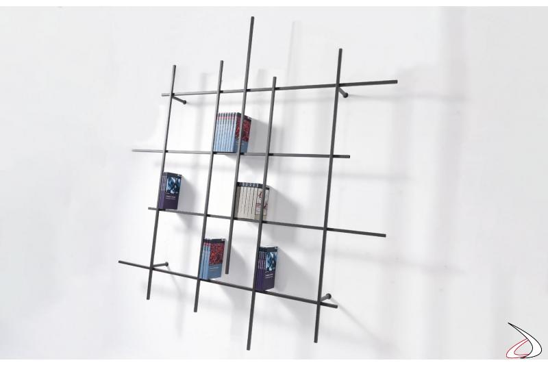 Libreria reticolo moderna sospesa a muro da soggiorno