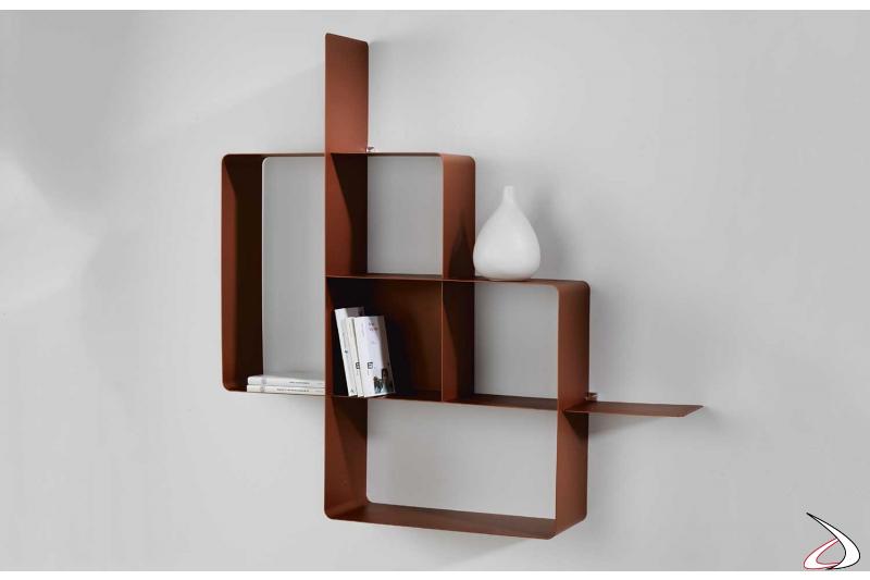 Libreria moderna da soggiorno in metallo colore marsala