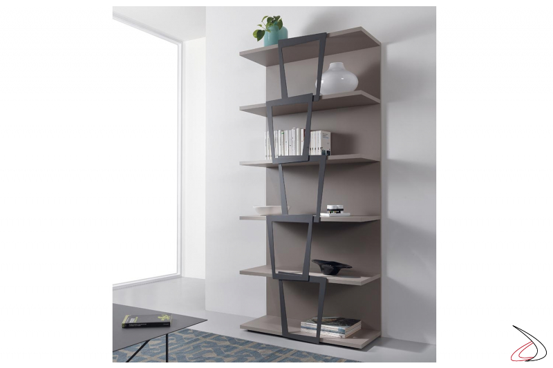 Libreria a muro moderna in laminato e in acciaio verniciato. Elemento singolo da 90 x 37 h 200 cm.