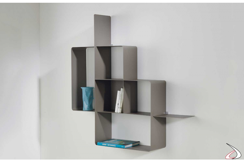 Libreria in metallo grigia moderna sospesa da soggiorno