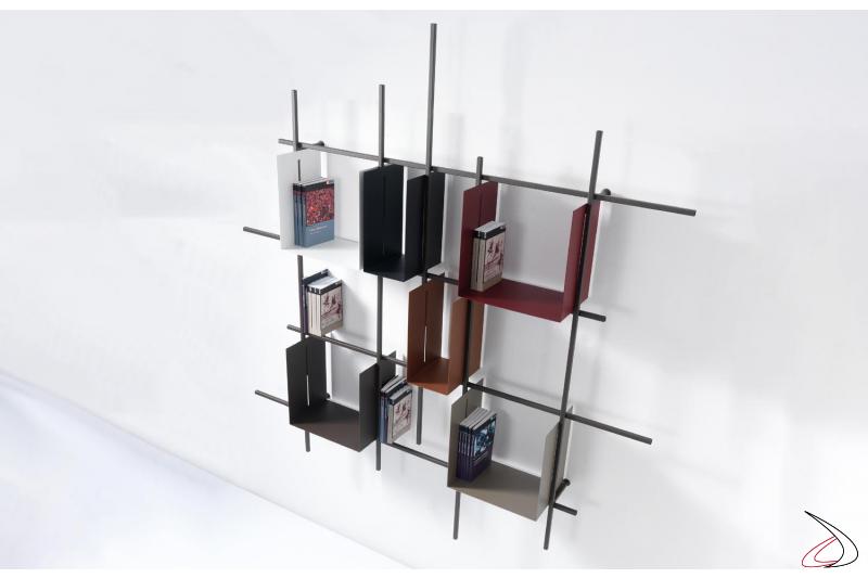 Libreria quadrata colorata moderna con box contenitori. Composizione 2, misura 164 x 185 x 15 cm.