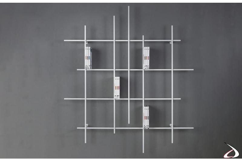 Libreria tubolare acciaio bianca di design poco profonda