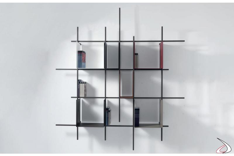 Reticolo libreria sospesa a parete con box contenitori