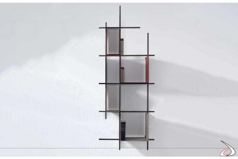 Libreria alta verticale a terra di design in tubolare d'acciaio