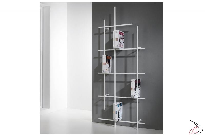 Libreria alta verticale bianca poco profonda di design