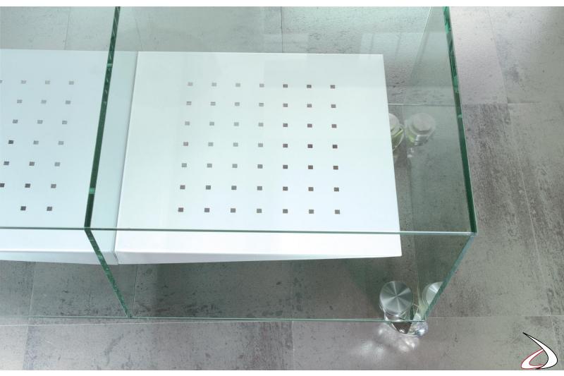 Mobile porta tv in cristallo temperato con ripiani in acciaio verniciato