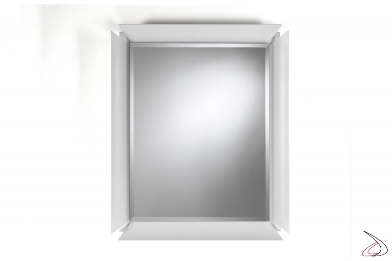 Specchiera moderna a muro rettangolare con cornice in alluminio