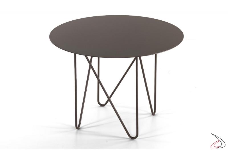 Tavolino alto rotondo di design da lato divano in acciaio colorato
