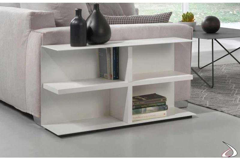 Tavolino per divano bianco di design in legno e acciaio