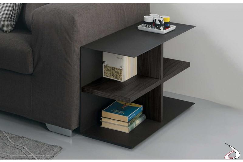Tavolino basso da lato divano di design in legno e metallo