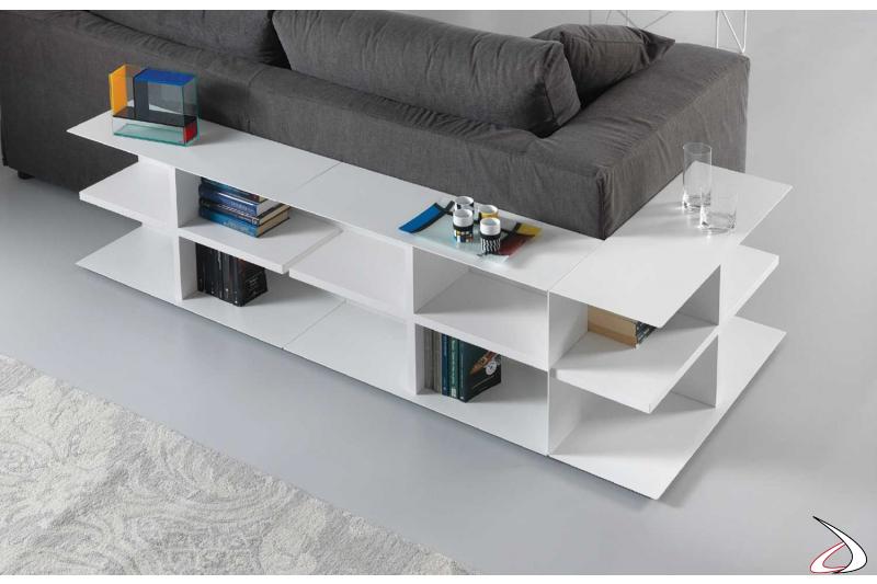 Tavolino bianco componibile per libreria da divano