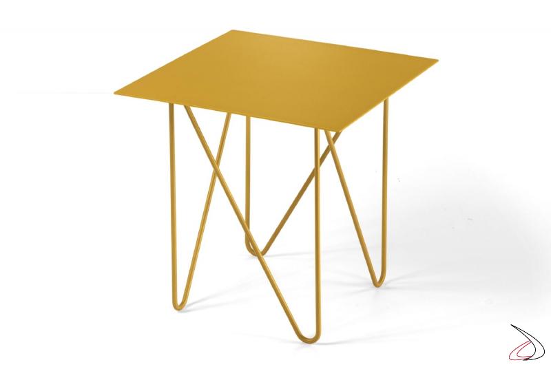 Tavolino quadrato alto piccolo da lato divano in acciaio color oro