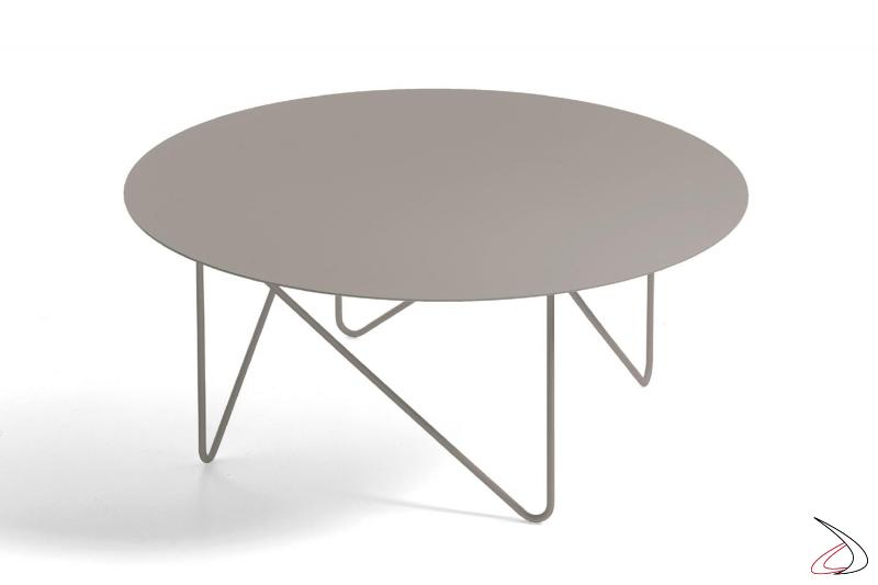Tavolino di design rotondo da soggiorno in colore tortora