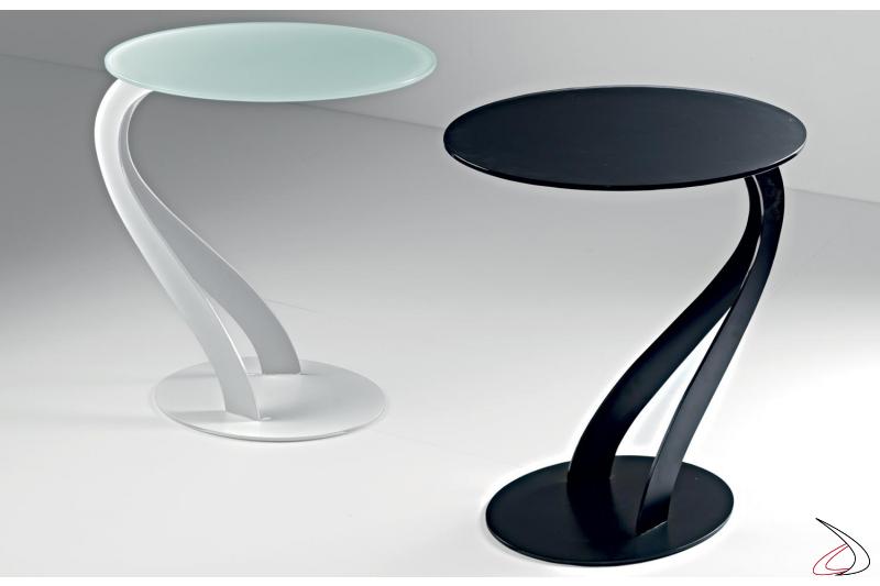 Tavolini moderni colorati da salotto con piano in vetro