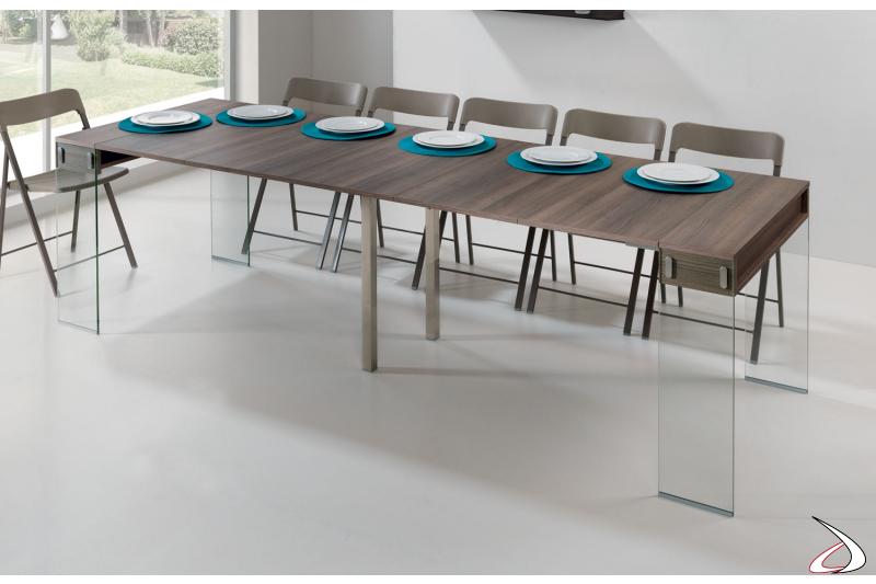 Tavolo consolle allungata da soggiorno con gambe in vetro