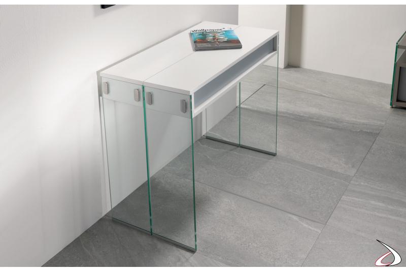 Consolle moderna da ingresso con gambe in vetro