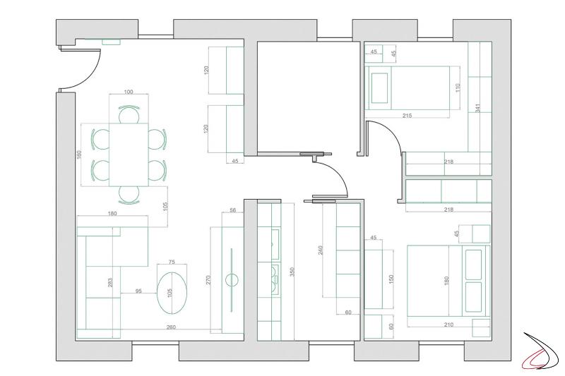 Piantina 2d arredamento abitazione completa